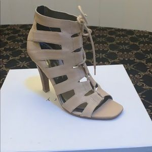 Theory Nude Leather Caged Lace-up Cutout Bootie 37